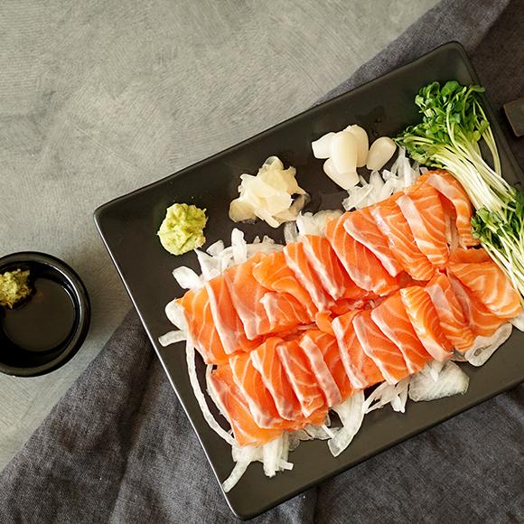 [포항샘물연어] 숙성생연어 야채세트